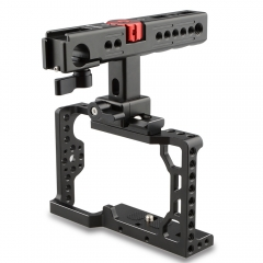 CAMVATE Handheld Camera Cage with QR Cheese Handle for Sony A6500 (Black, Red Knob)