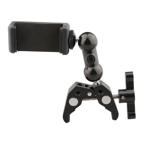 CAMVATE Crab Clamp Bracket with Ball Head Mount Cell Phone Clip (Black T-handle)