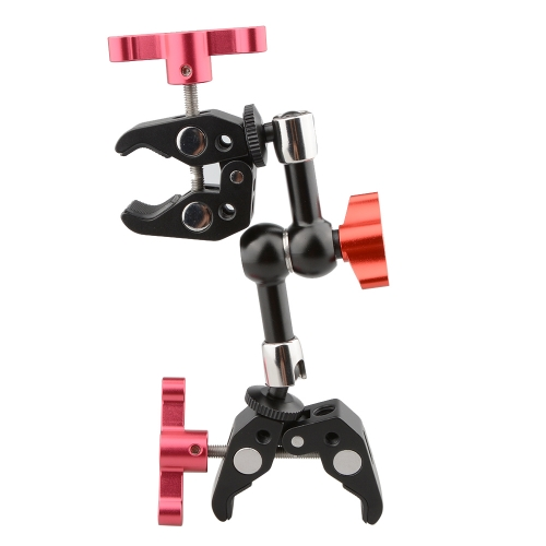 CAMVATE Articulating Magic Arm with 2 Crab Clamps (Red T-handle)