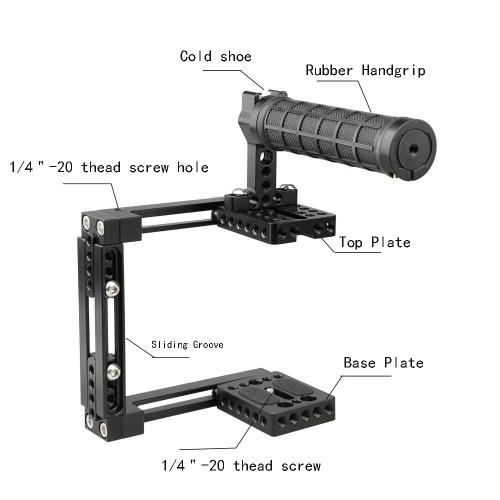 Goliton/® double support de montage de support de cam/éra adaptateur mono titulaire du stand de pod pour Gopro Hero 4 3 3 2 1-Noir
