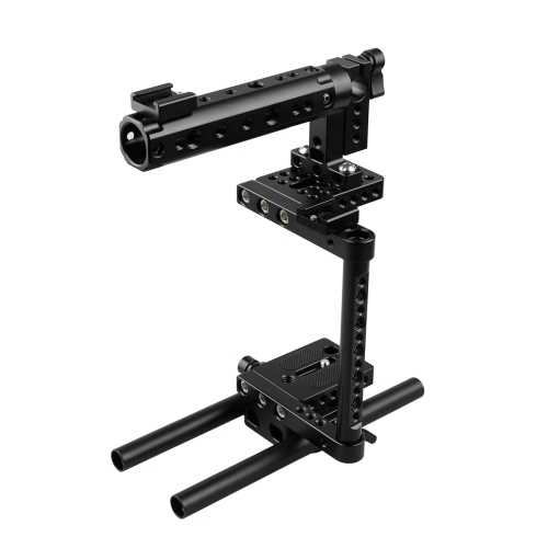 CAMVATE DSLR Camera Cage Rig With 2 Shoe Mounts And Double Rods For Canon Nikon Sony Panasonic