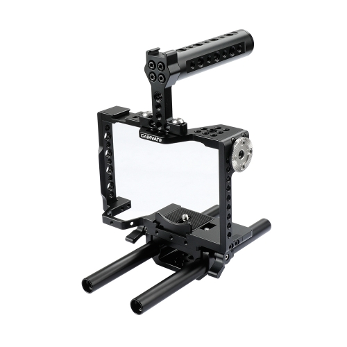 CAMVATE Camera Cage Rig With Top Handle & 15mm Dual Rod For Sony a7 II, a7R II, a7S II, a7 III, a7R III, A7r4, a9 Series