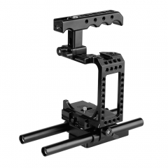 CAMVATE DSLR Camera Half Cage Kit With Top Cheese Handle & QR Baseplate For Sony A7s A7RII A7s2 A7sII A7r3 A7r4 A73 A9