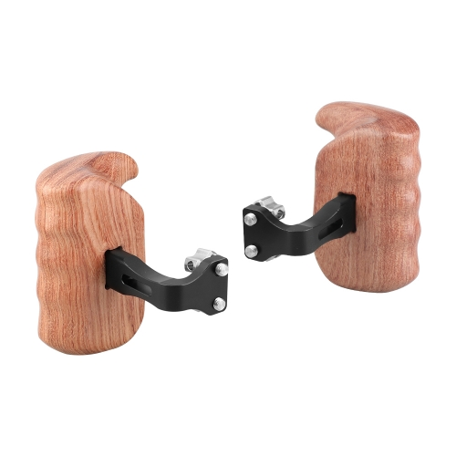 "CAMVATE Wooden Handgrip With Invertible 1/4"" Thumbscrew Connection For DSLR Camera Cage Rig (A Pair)"
