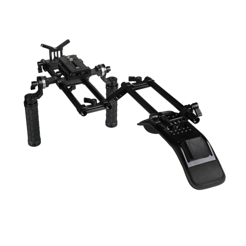 CAMVATE Handheld Shoulder Mount Rig With Manfrotto QR Plate & Rubber Handgrip For HDSLR Camera / DV Camcorder