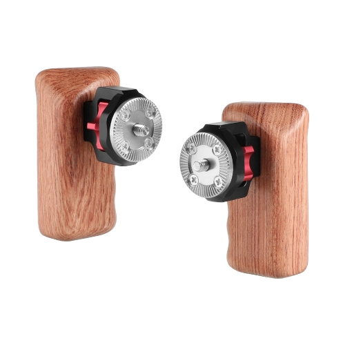 CAMVATE Universal Wooden Handgrip With M6 Rosette Connection For Camera Cage Kit (A Pair)
