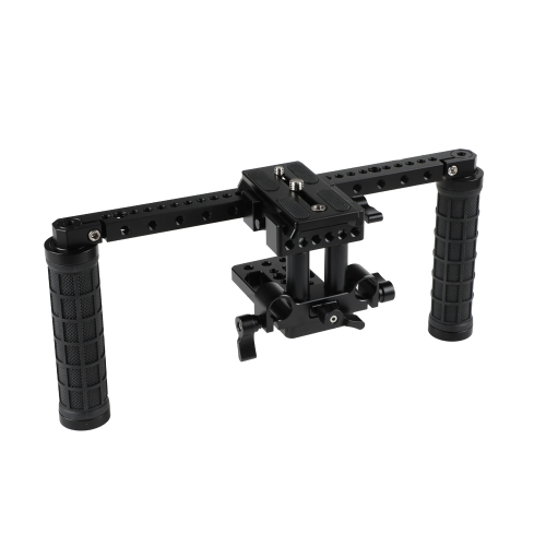 CAMVATE DSLR Camera Supporting Rig With Manfrotto QR Plate & Rubber Handgrip For Shoulder Mount Rig