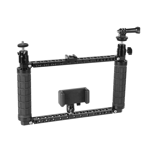 CAMVATE Rubber Handle Bracket Support Rig With Mobile Phone Clip & Monopod Mount For GoPro HD HERO 1 2 3 4 Camera
