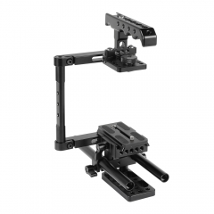 CAMVATE Half Cage Kit With Top Cheese Handle & QR Manfrotto Plate & 15mm Rod Support For DSLR Cameras