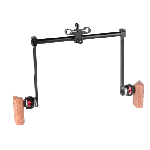 CAMVATE ARRI Style Rosette Dual Handgrip (Wood) Installation With 15mm Rod Clamp Adapter For Camera Shoulder-Mounted Rig