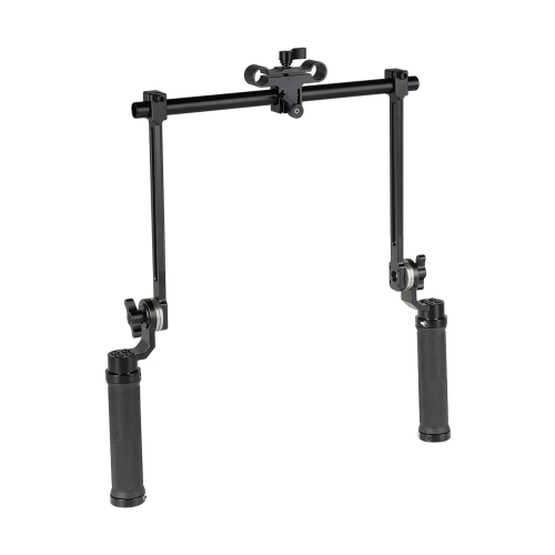 CAMVATE ARRI Style Rosette Dual Handgrip (Rubber) Installation With 15mm Rod Clamp Adapter For Camera Shoulder-Mounted Rig