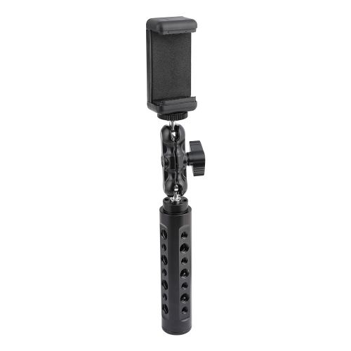 "CAMVATE Aluminum Cheese Handle With Adjustable Cellphone Clip & 1/4""-20 Ball Head Holder Mount"