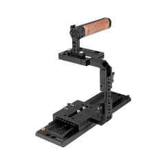 "CAMVATE Quick Release Half Cage Kit With 12"" ARRI Dovetail Bridge Plate & Wooden Top Handle For RED DSMC2 Video Cameras"