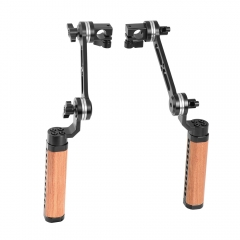 CAMVATE Adjustable Wooden Handgrip With ARRI Rosette Style Connection Joint & 15mm Single Rod Clamp (A Pair)