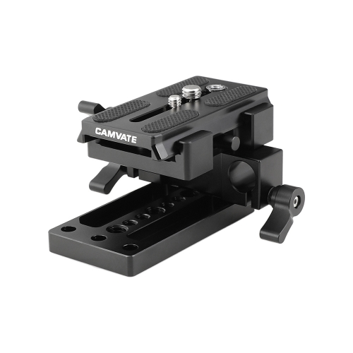 CAMVATE QR Manfrotto Connect Adapter With Sliding Mounting Plate + Base Plate + 15mm Dual Rod Clamp