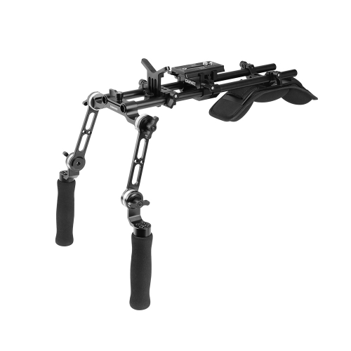 CAMVATE Shoulder Rig With Manfrotto QR Baseplate & Rosette Extension Arm Handgrip For DSLR Camera  DV Camcorder