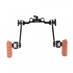 CAMVATE Adjustable ARRI Rosette Extension Arm Handgrip Pair (Wood) With 15mm Railblock For DLSR Camera Shoulder Rig