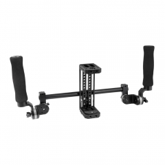 CAMVATE Simple Monitor Cage Kit With Dual Rosette Handgrip & Light Stand Head