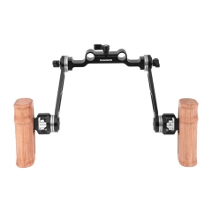 CAMVATE Dual Wooden Handle With Adjustable ARRI Rosette Extension Arm & 15mm Railblock For DLSR Camera Shoulder Rig