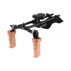 CAMVATE Pro Shoulder Support Rig With Manfrotto Quick Release Plate & Dual Wooden Hand Grip Rosette Connection