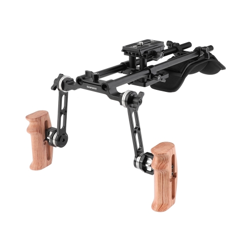 CAMVATE Pro Shoulder Support Rig With Manfrotto Quick Release Baseplate & ARRI Rosette Extension Arm Wooden Hand Grip Pair