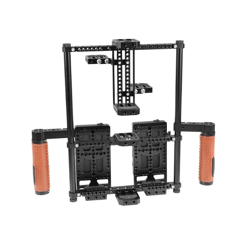 "CAMVATE 2-in-1 Director's Monitor Cage Rig With Double Power Supply Splitters & Leather-covered Hand Grips (For 5"" & 7"" Monitors)"