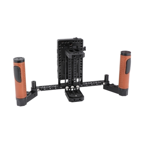 "CAMVATE 5"" & 7"" Director's Monitor Cage Rig With V Lock Power Splitter & Leather-covered Handle Grips"