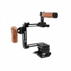 CAMVATE Adjustable Half Cage Kit With Manfrotto Quick Release Plate 15mm Railblock Base + Wooden Handgrip