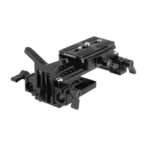 CAMVATE Manfrotto Quick Release Plate Assembly With Double 15mm Rod Clamps & Y Shape Lens Support For DSLR Camera Shoulder Rig