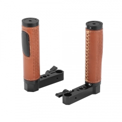 CAMVATE 15mm Rod Handgrip Leather-covered L Type For Monitor Cage Rig (A Pair)