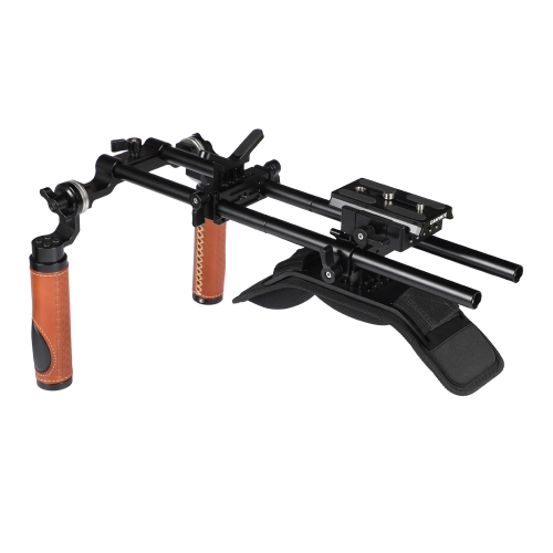 CAMVATE Shoulder Mount Rig With Manfrotto QR Baseplate & Dual Rosette Handgrip (Leather-covered) For DSLR Camera / DV Camcorder