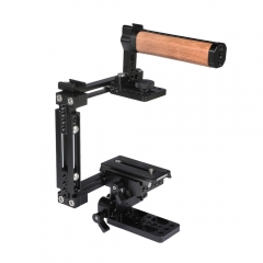 CAMVATE Extension-type Half Cage Kit With Manfrotto Quick Release Plate & Adjustable 15mm Railblock Base & Wooden Top Handle