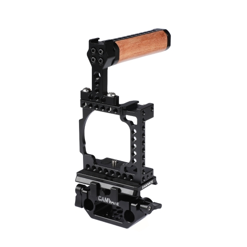 CAMVATE Camera Full Cage With Manfrotto QR Plate & 15mm Railblock & Top Handle For Sony A6000 A6300 A6400 A6500 A6600 4K