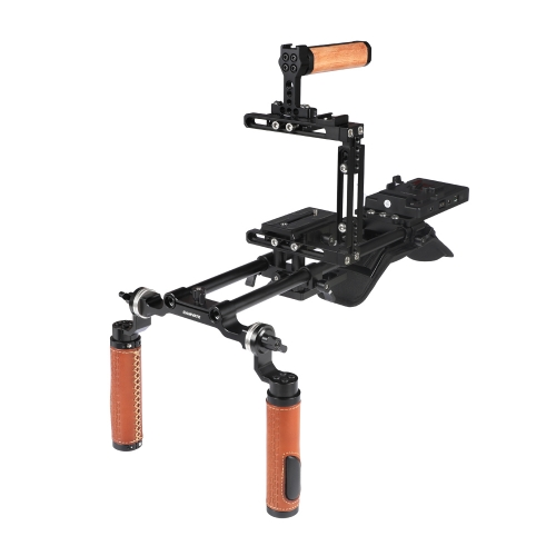 CAMVATE Pro Shoulder Mount Rig + Extension-type Half Cage With Manfrotto Quick Release Plate + V Mount Power Splitter