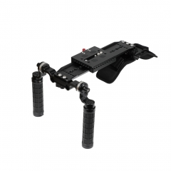 "CAMVATE Shoulder Mount Rig With ARRI 12"" Dovetail Bridge Plate & Rosette Handgrip Pair For DSLR Camera / DV Camcorder"