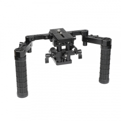 CAMVATE Manfrotto Quick Release Tripod Mount Base Plate With 15mm LWS Rod Clamp & Dual Adjustable Rubber Handgrips