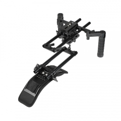 CAMVATE Manfrotto Quick Release Tripod Mount Base Plate With 15mm LWS Rod Clamp & Dual Rubber Handgrips