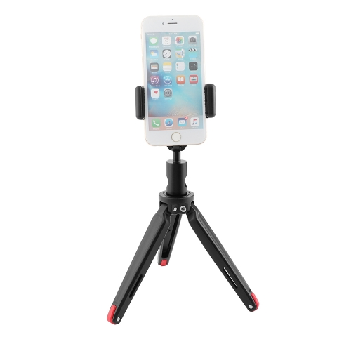 CAMVATE Robust Foldable Mini Tabletop Tripod + Smartphone Clip + Ball Head Peapod Holder With Light Stand Head