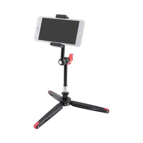 "CAMVATE Firm Foldable Mini Tabletop Tripod + 11"" Magic Arm With 1/4"" Threads + Cellphone Clip"