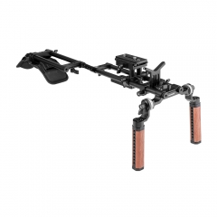 CAMVATE Pro Shoulder Mount Rig With Manfrotto Baseplate & Dual Rosette Wood Handgrip & Lens Support For DV Camcorder