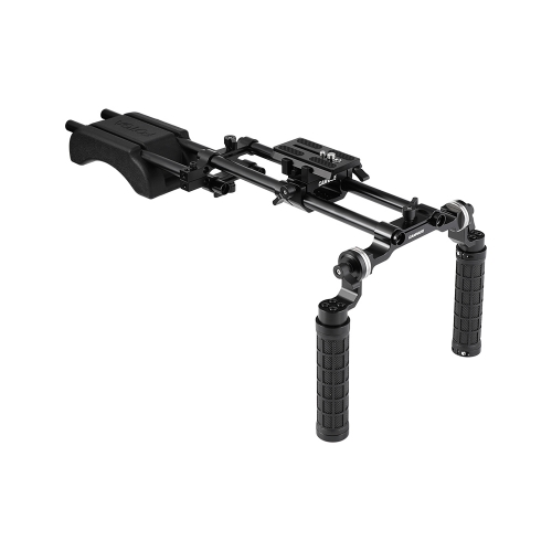 CAMVATE Pro Shoulder Mount Rig With Manfrotto Quick Release Plate & Adjustable Rosette Rubber Handgrips & Dual Rod Support Systems For DV Camcorder