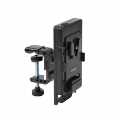 CAMVATE Quick Release V Lock Power Supply Splitter + V Lock Mount Wedge Kit + Robust C Clamp Mount Holder