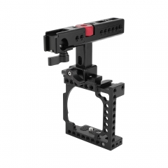 CAMVATE Handheld Camera Cage with QR Cheese Handle for Sony A6600 A6500 A6400 A6000 A6300 (Black)