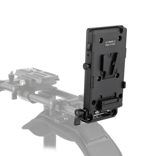 CAMVATE Quick Release V Lock Power Splitter Plate + Battery Cheese Plate With 15mm Rail Block Rod Clamp