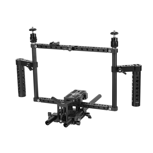 CAMVATE Full Frame DSLR Camera Cage Rig With Adjustable Dual Cheese Handgrip & 15mm Rod Support System & Manfrotto Quick Release Baseplate
