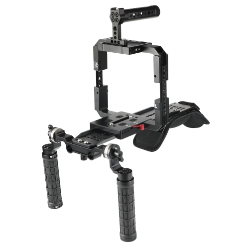 CAMVATE Pro Shoulder Mount Support Rig With ARRI Dovetail Sled Plate & Full Frame Cage Kit For RED DSMC2 Cameras