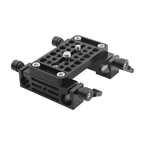 CAMVATE Bottom Cheese Plate With Double 15mm LWS Rod Holder For DSLR Camera Cage Rig Rod Support Setup