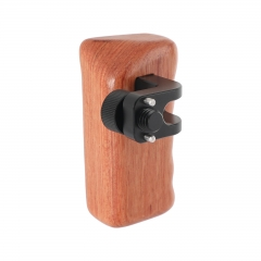 "CAMVATE Wooden Hand Grip (Left Side) With 3/8""-16 Thumbscrew Lock Knob & ARRI Locating Pins For DSLR Camera Cage Rig"