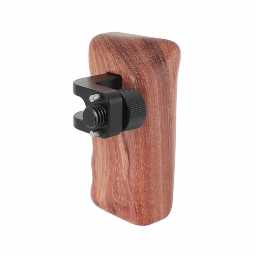 "CAMVATE Wooden Hand Grip (Right Side) With 3/8""-16 Thumbscrew Lock Knob & ARRI Locating Pins For DSLR Camera Cage Rig"