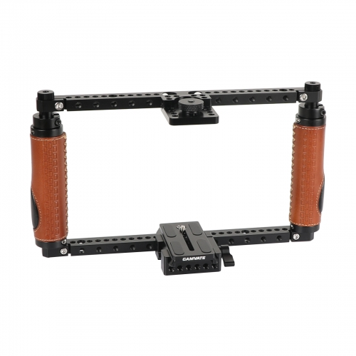 CAMVATE Adjustable Full Frame Cage Rig With Quick Release Manfrotto Baseplate For Large DSLRs & DSLR With Battery Grip